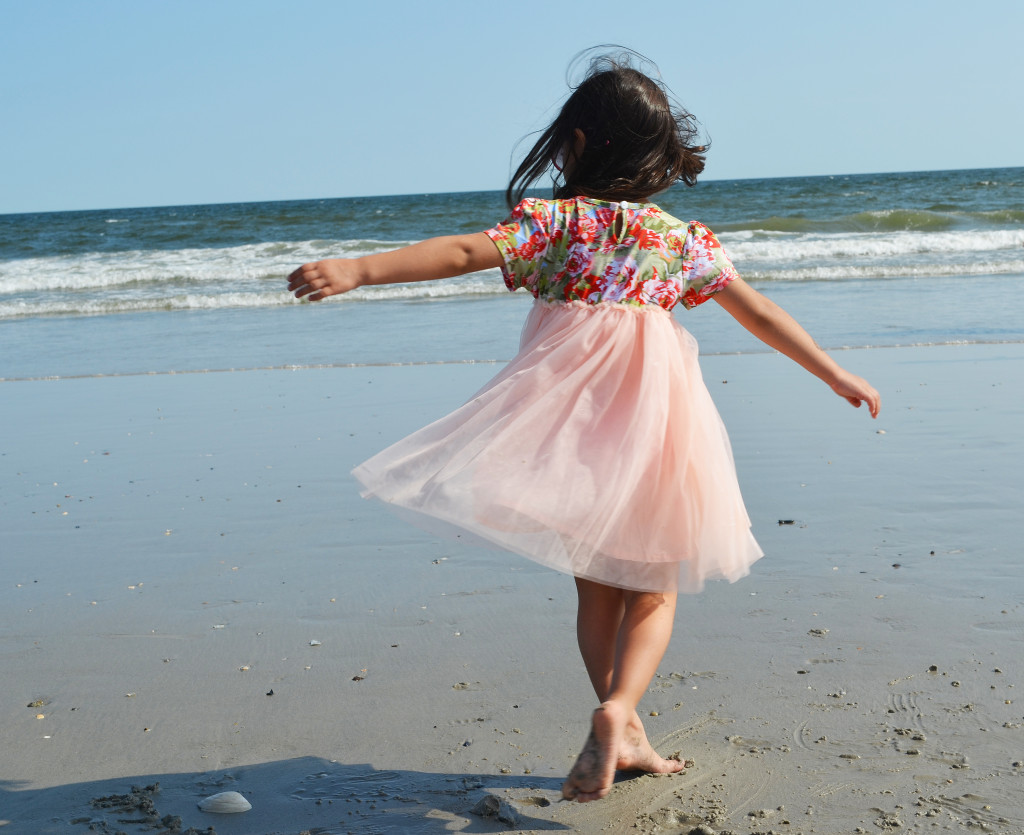 vindie baby dress on the beach
