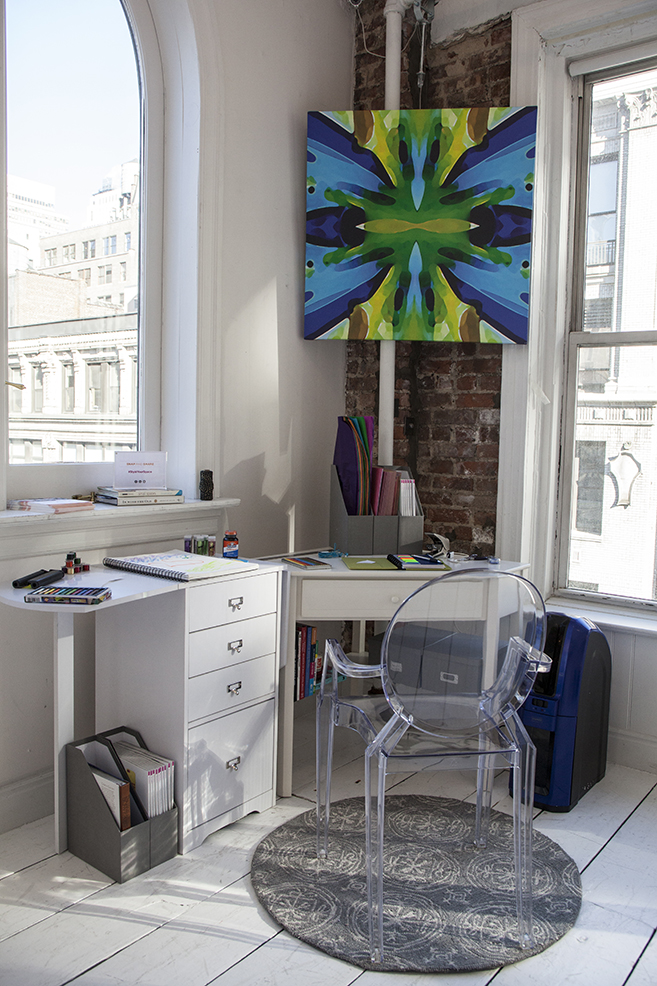 modern office, lucite chari