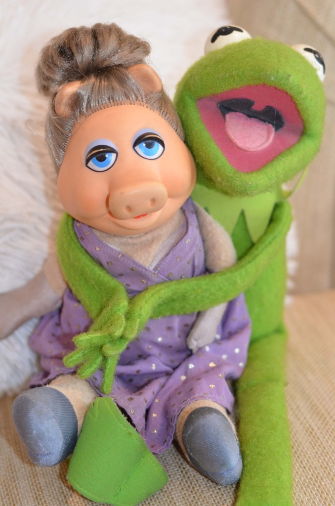 vintage miss piggy doll and kermit
