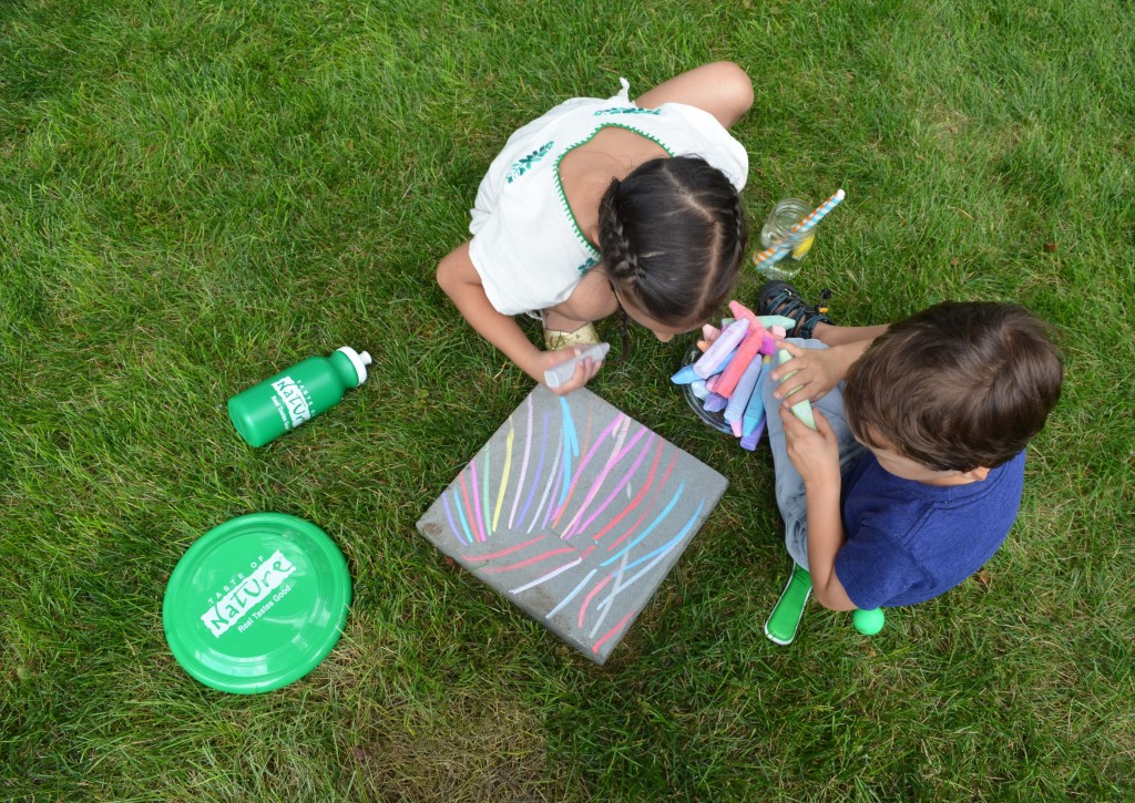 creative chalk drawing with kids