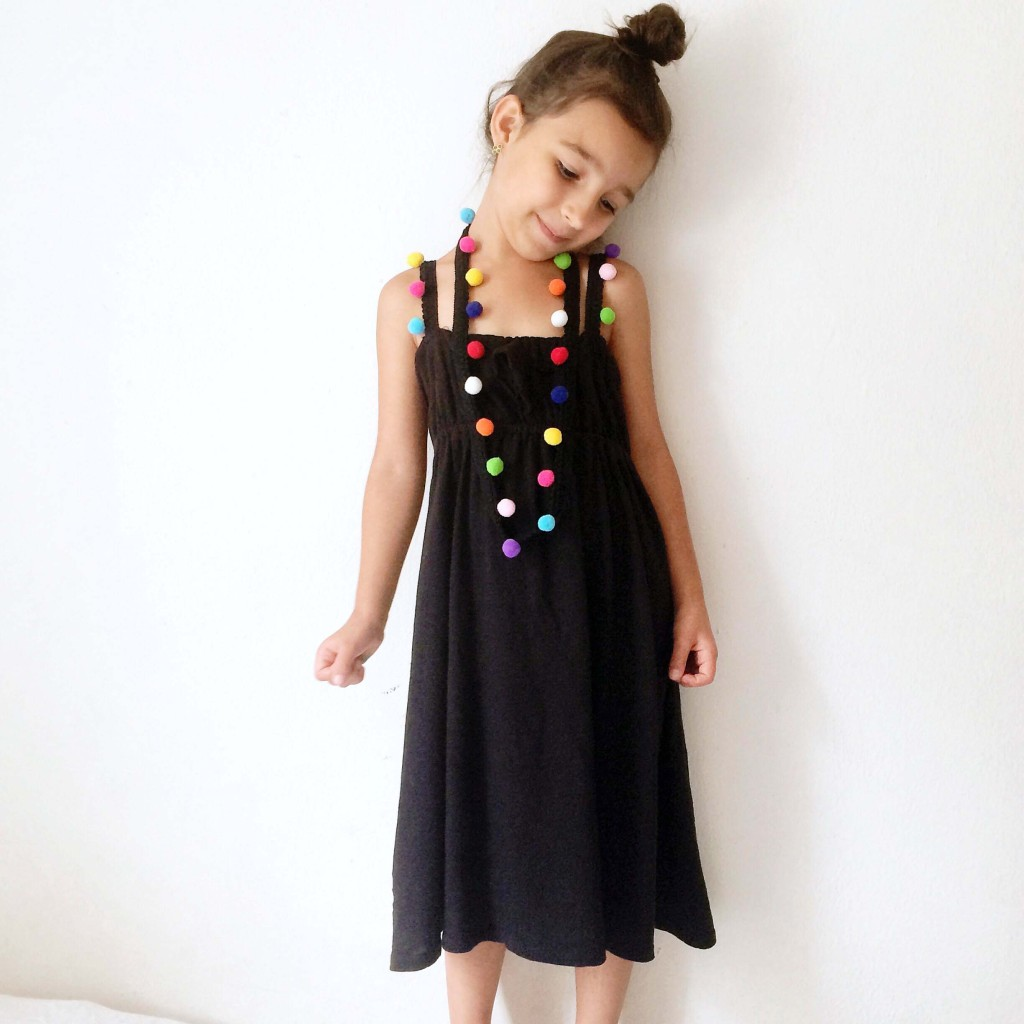 simple girls dress pattern sewing pom poms