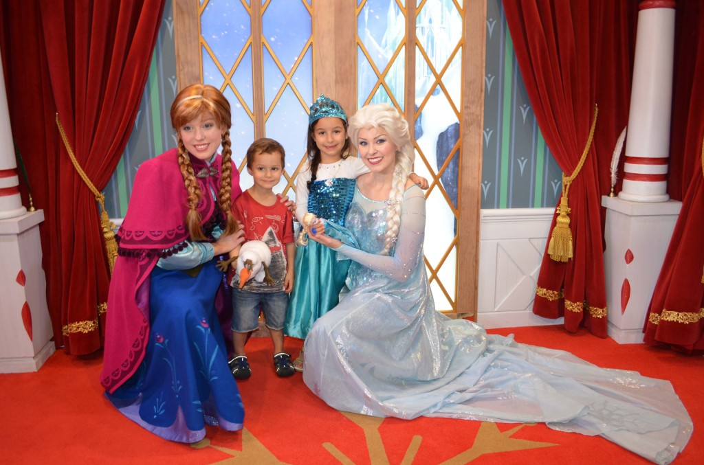 visiting Elsa and Anna at Epcot Center
