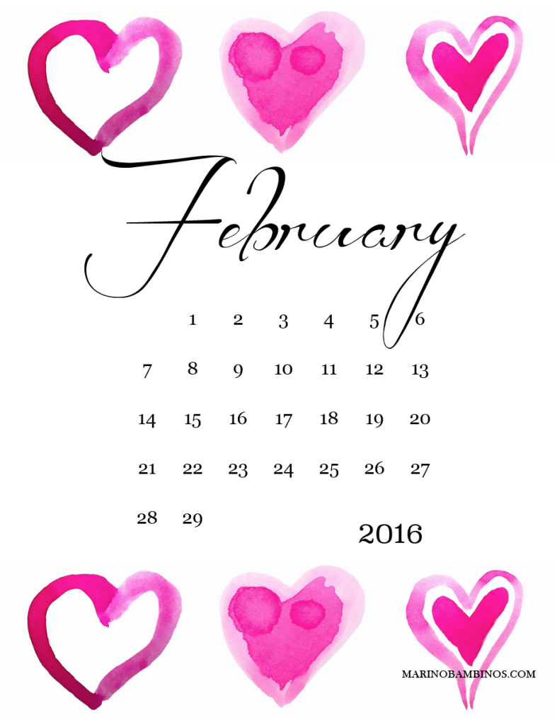 Free Printable Download February 2016 Calendar