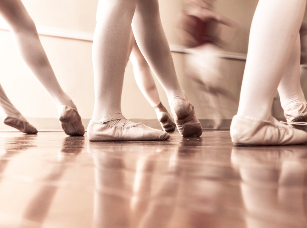 ballet class across the floor ballerinas toes pointed ballet slippers
