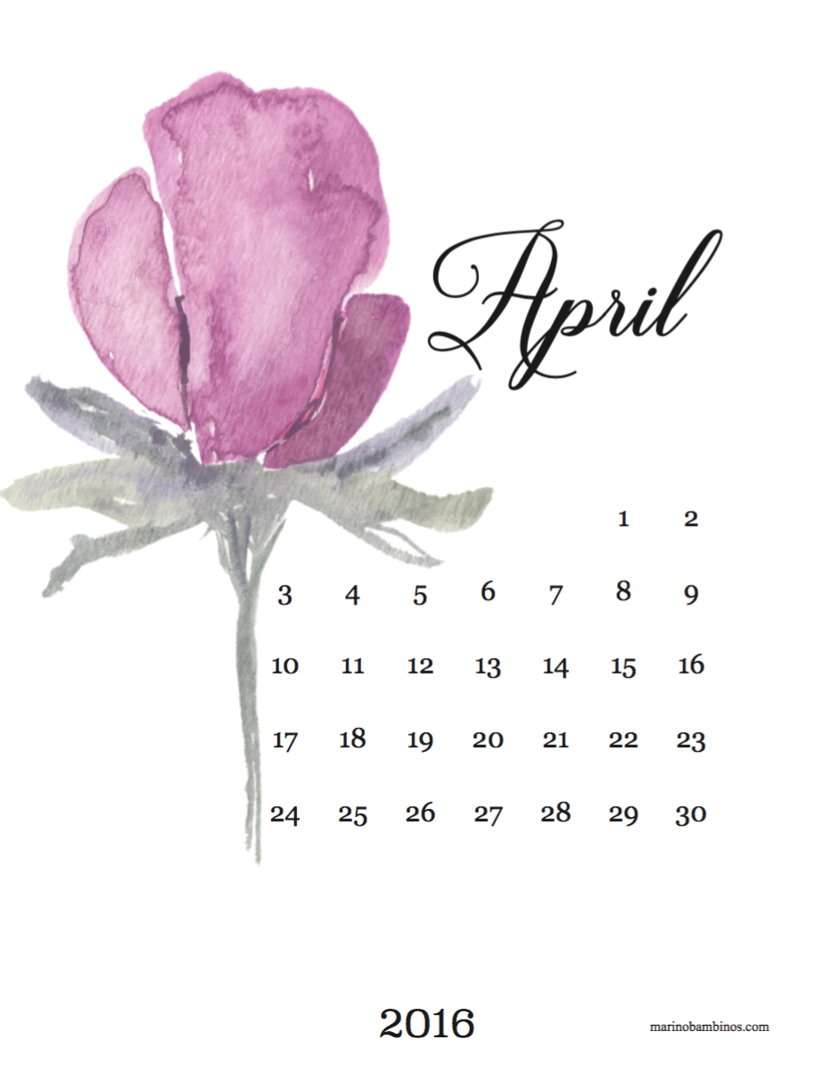 April 2016 Pretty Watercolor Flower Free Printable Calendar Sheet