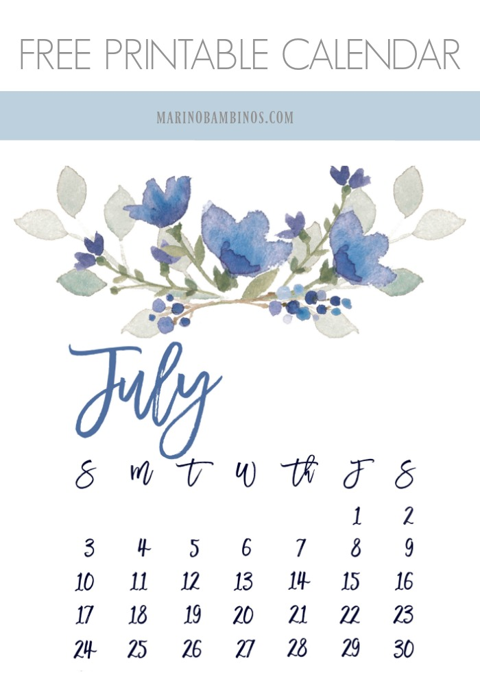 graphic regarding Pretty Printable Calendar titled July 2016 Absolutely free Charming Printable Calendar MarinoBambinos