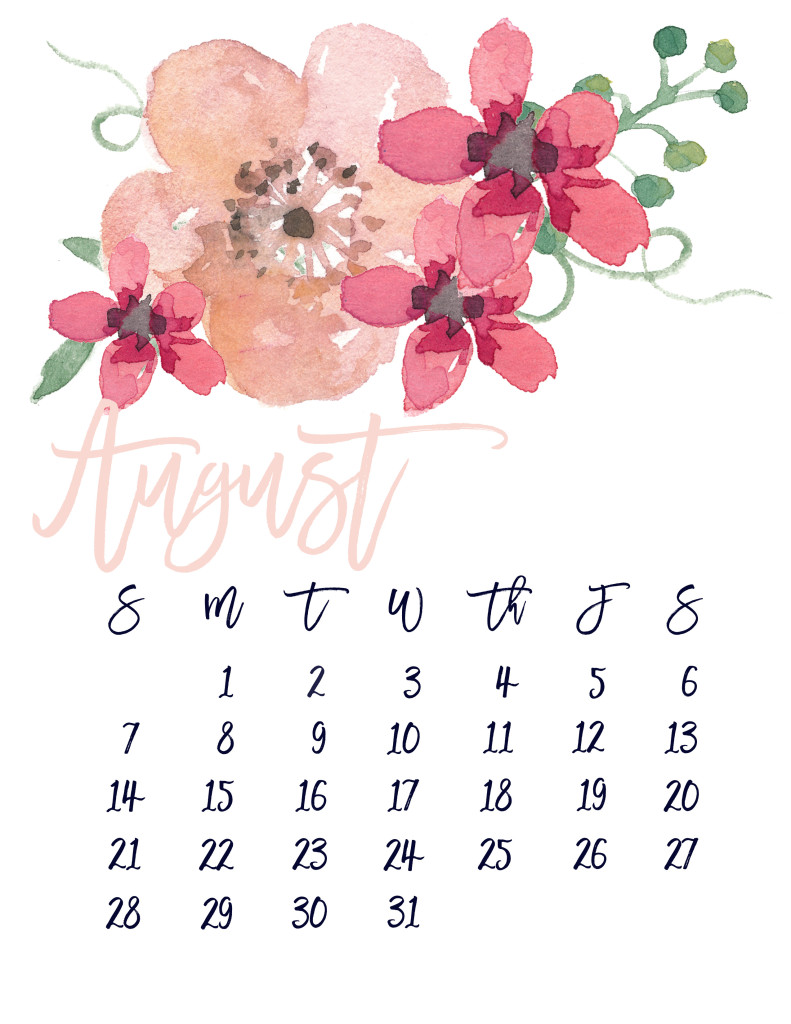 image regarding Pretty Printable Calendar identified as August 2016 Totally free Lovely Printable Calendar MarinoBambinos