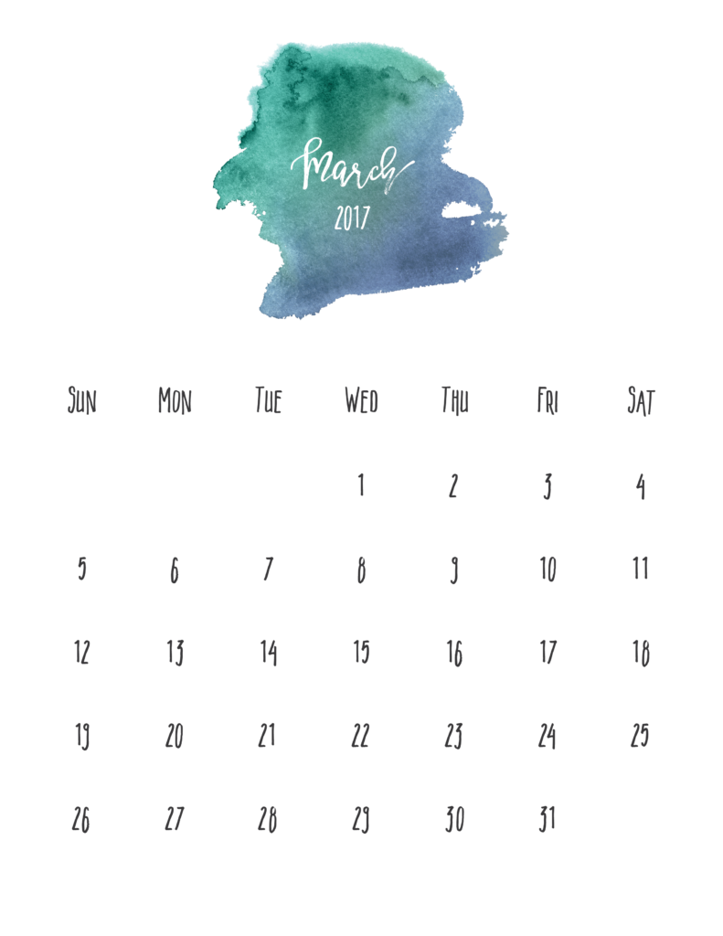 March 2017 Free Pretty Printable Calendar | MarinoBambinos